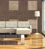 Living room with brown paneling along the wall