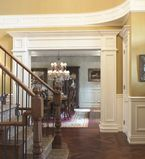 Entry to dining room with white moulding