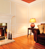 Light yellow wall with paneling along the wall with moulding around the fireplace and baseboards around the bottom